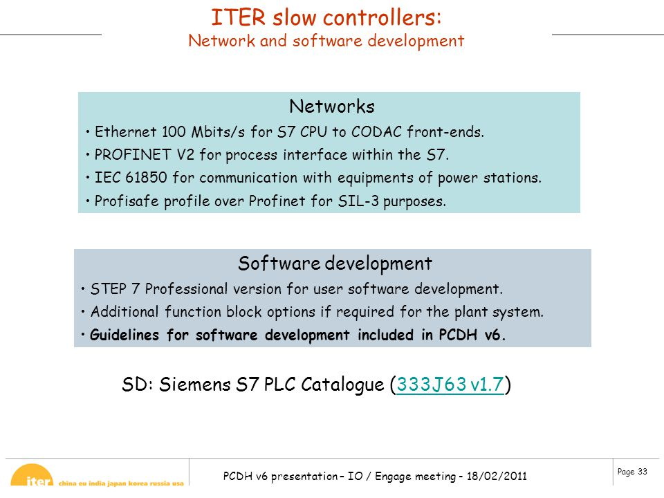ITER slow controllers: Network and software development