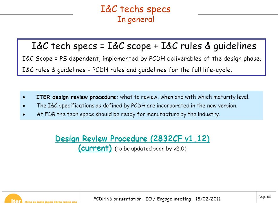 I&C tech specs = I&C scope + I&C rules & guidelines