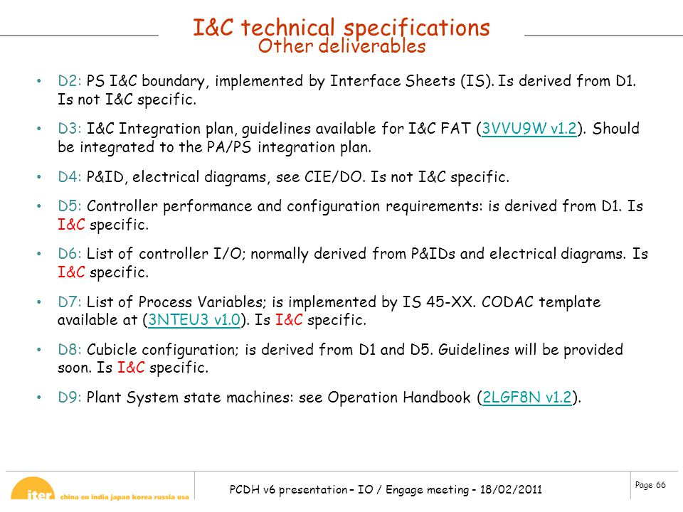 I&C technical specifications