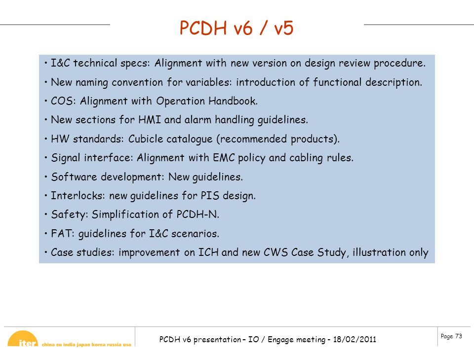 PCDH v6 / v5 I&C technical specs: Alignment with new version on design review procedure.