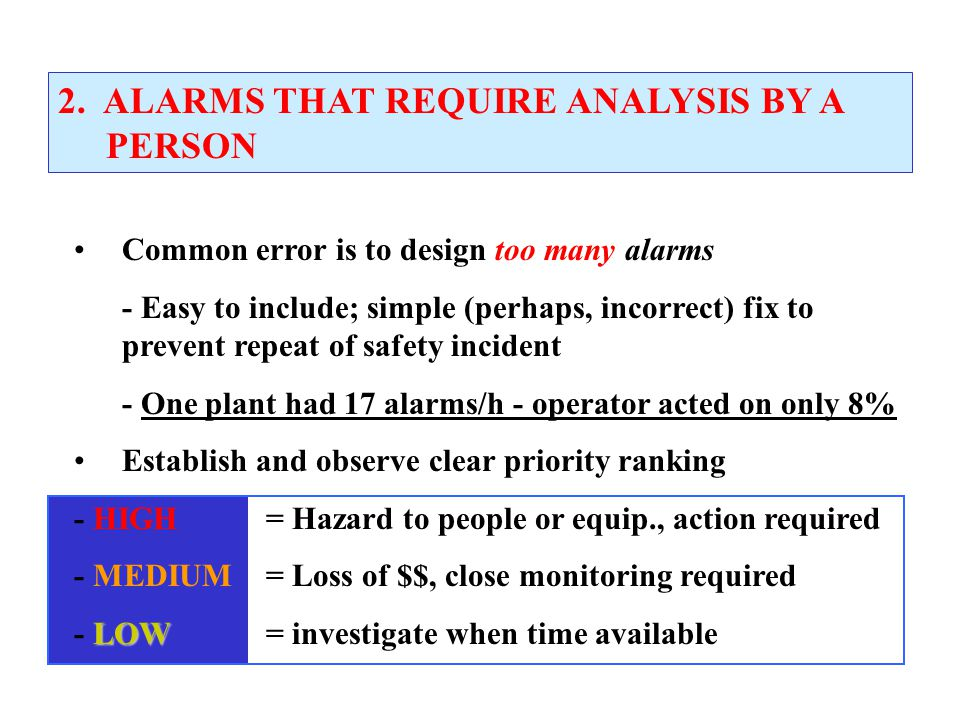 2. ALARMS THAT REQUIRE ANALYSIS BY A PERSON
