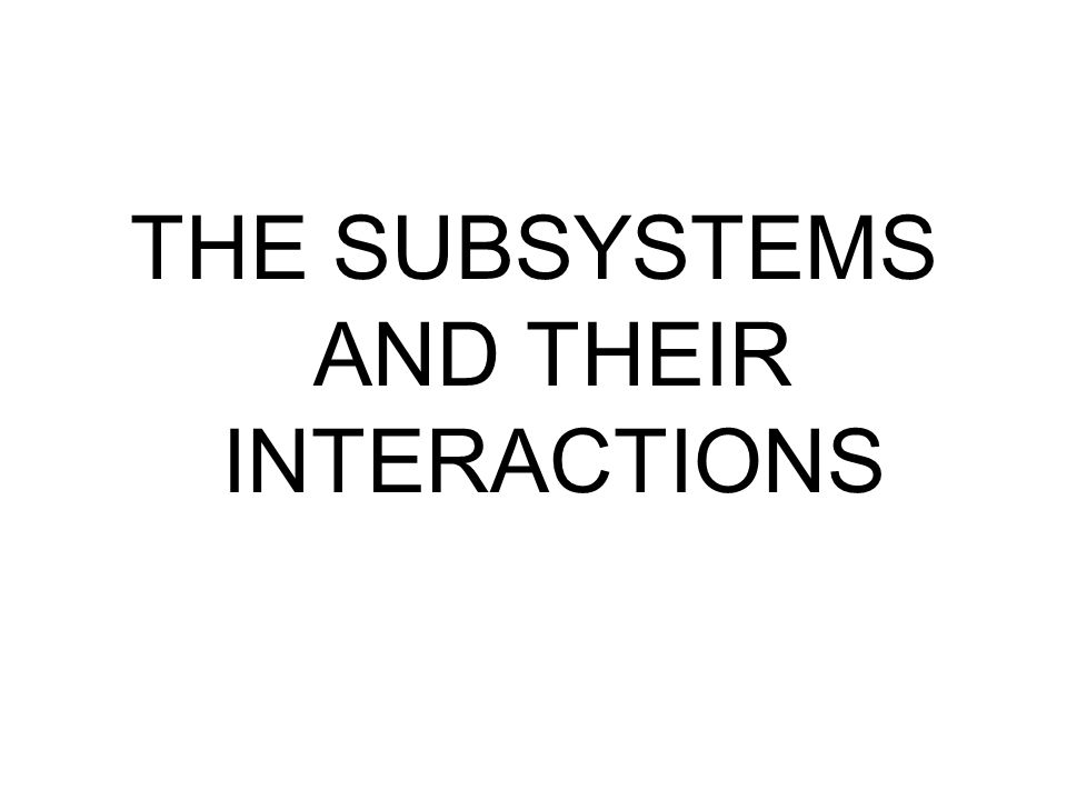 THE SUBSYSTEMS AND THEIR INTERACTIONS