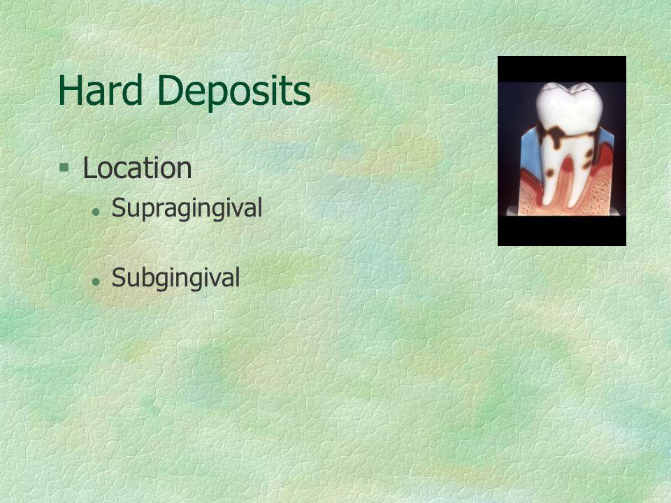 Hard Deposits Location Supragingival Subgingival