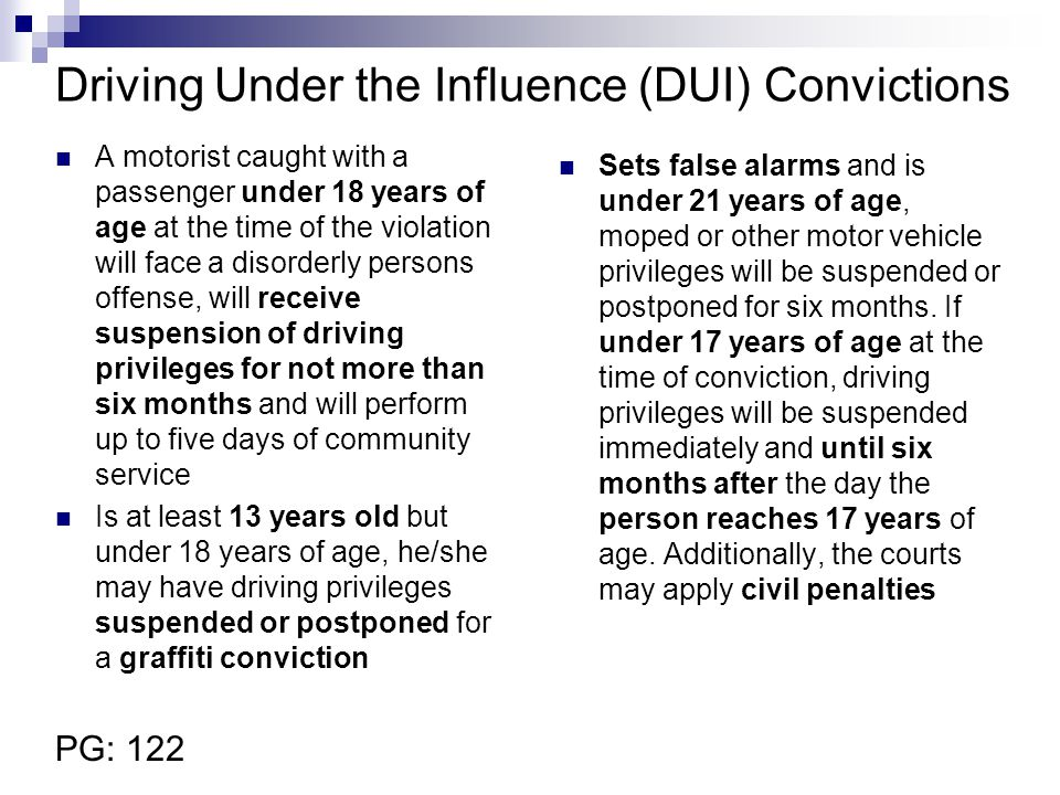 Driving Under the Influence (DUI) Convictions
