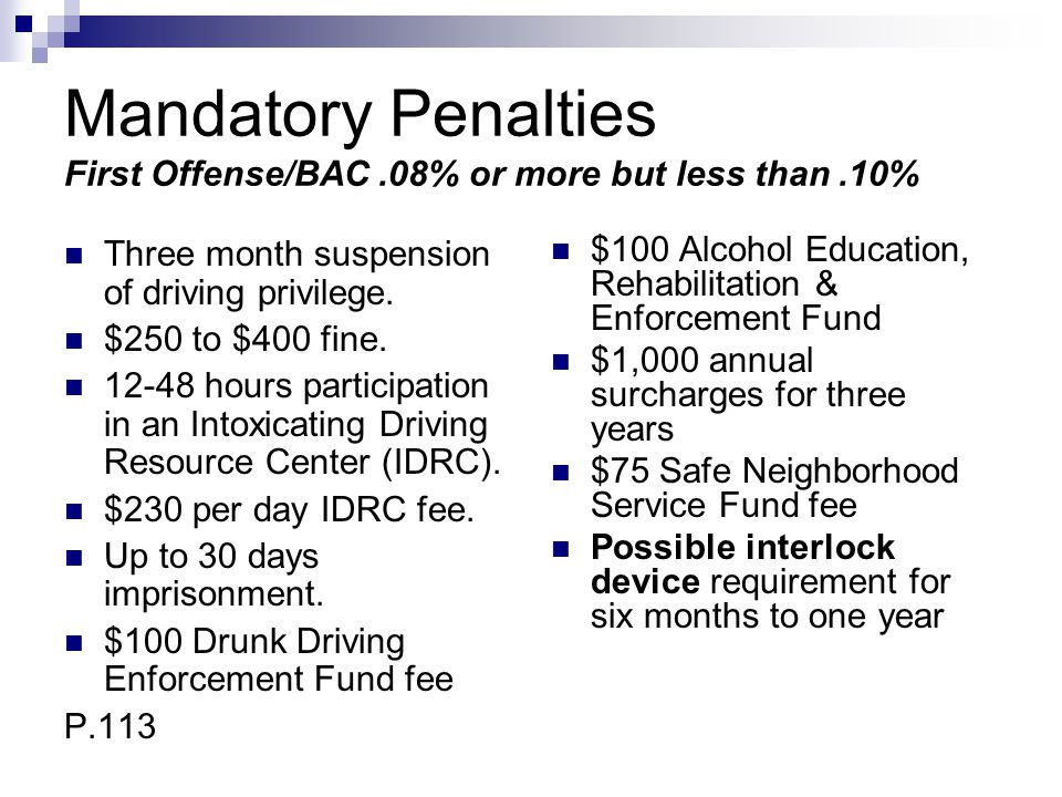 Mandatory Penalties First Offense/BAC .08% or more but less than .10%