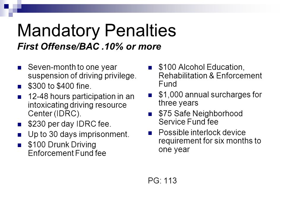 Mandatory Penalties First Offense/BAC .10% or more
