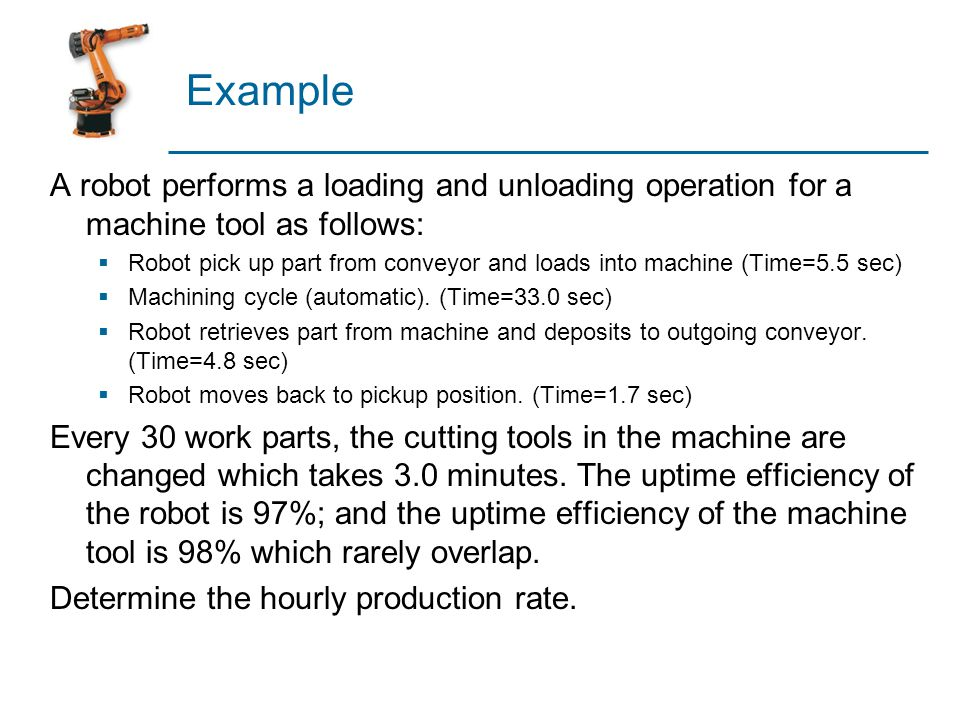 Example A robot performs a loading and unloading operation for a machine tool as follows: