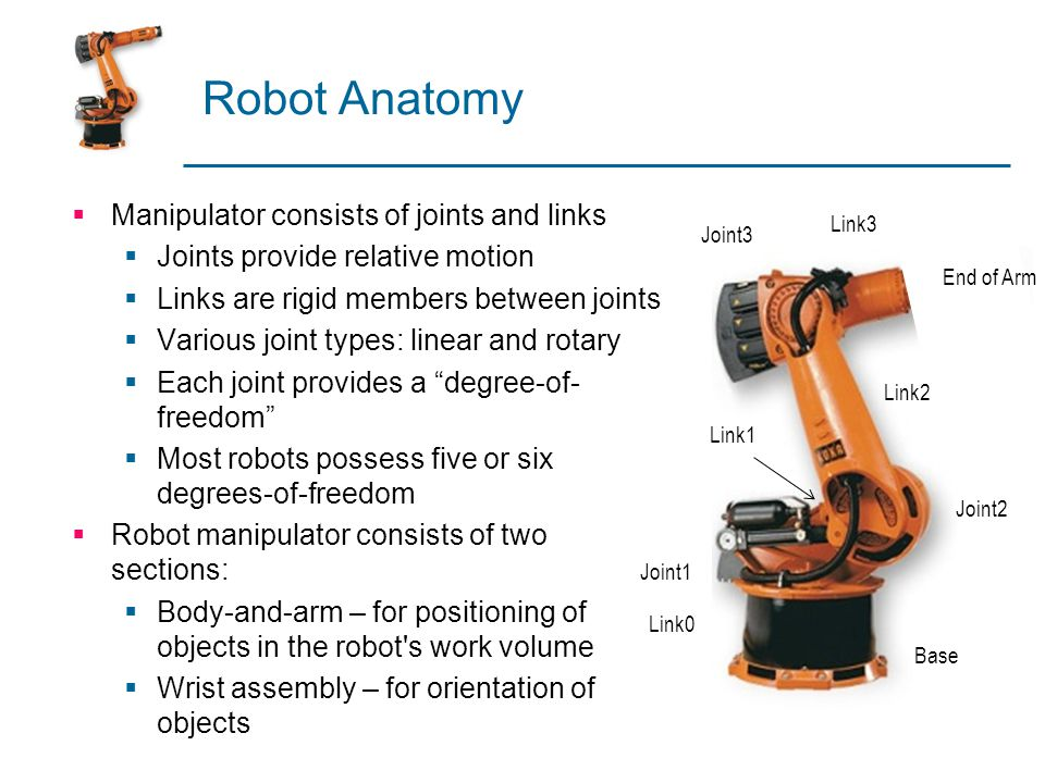 Robot Anatomy Manipulator consists of joints and links