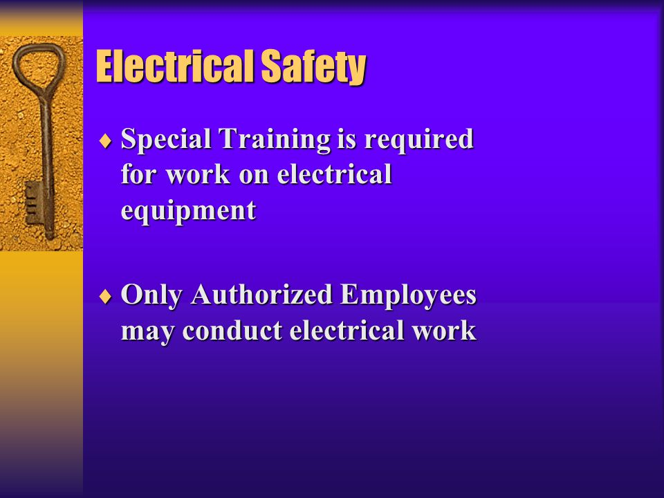 Electrical Safety Special Training is required for work on electrical equipment.