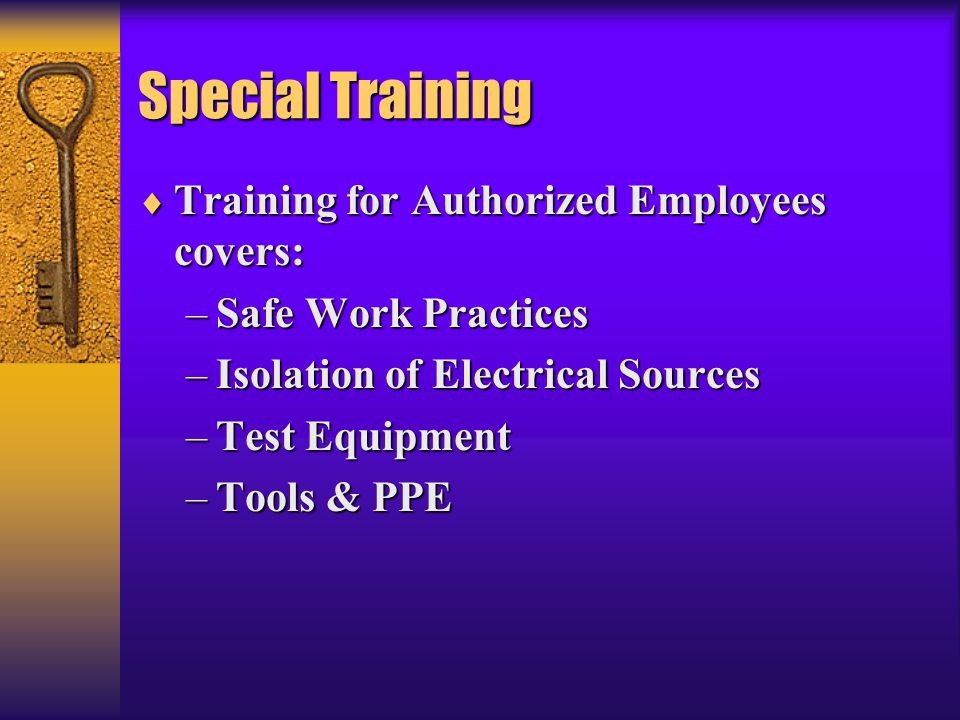 Special Training Training for Authorized Employees covers: