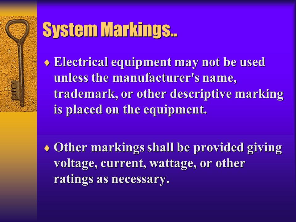 System Markings..