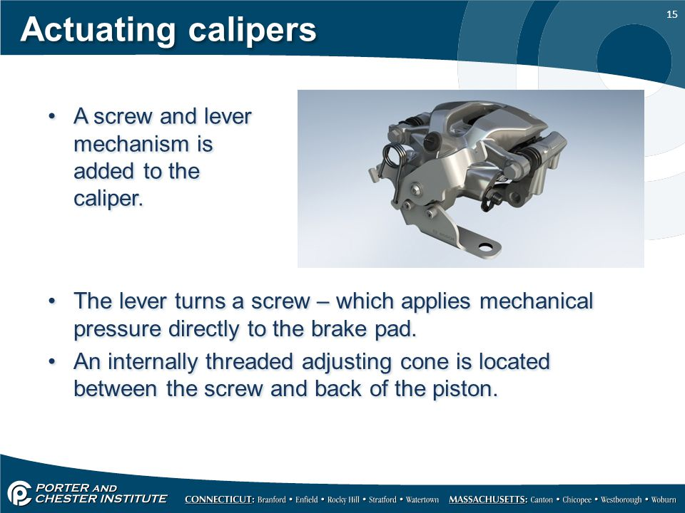 Actuating calipers A screw and lever mechanism is added to the caliper.