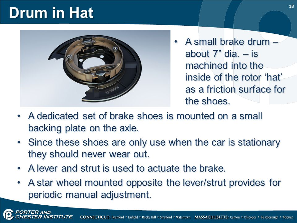 Drum in Hat A small brake drum – about 7 dia. – is machined into the inside of the rotor 'hat' as a friction surface for the shoes.