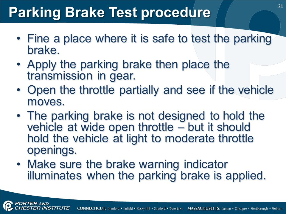 Parking Brake Test procedure