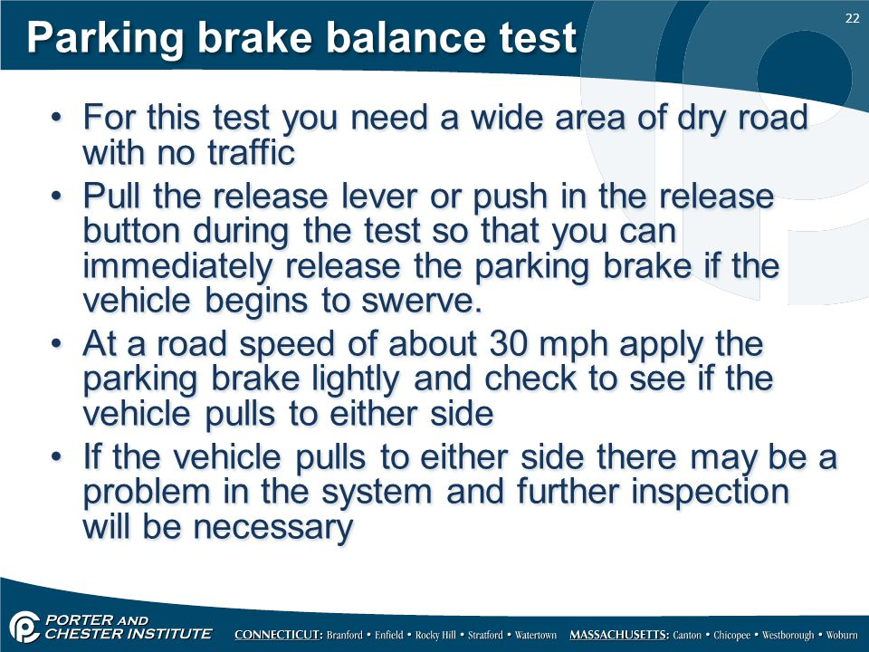 Parking brake balance test