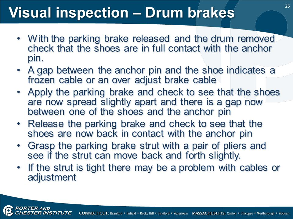 Visual inspection – Drum brakes
