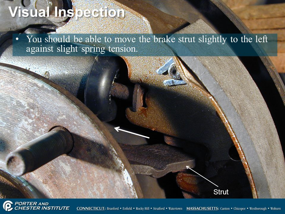 Visual Inspection You should be able to move the brake strut slightly to the left against slight spring tension.