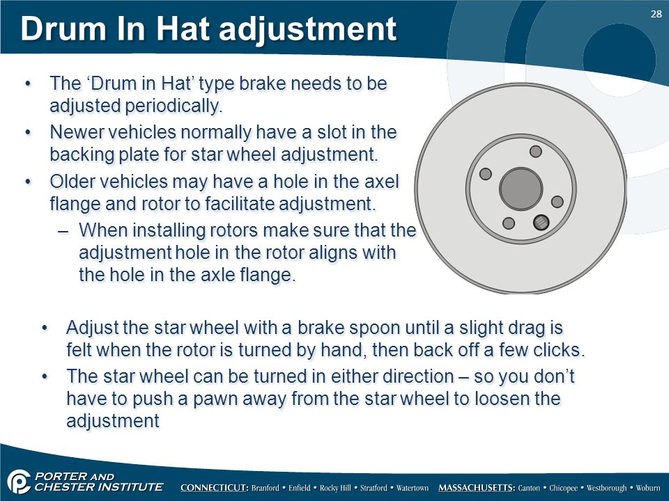 Drum In Hat adjustment The 'Drum in Hat' type brake needs to be adjusted periodically.
