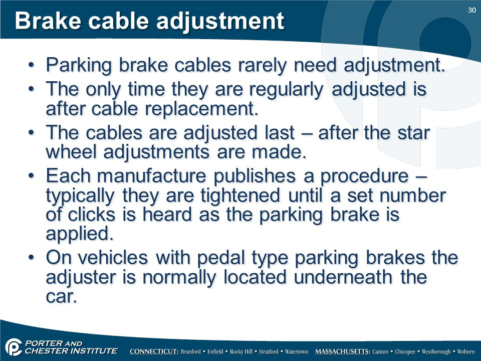 Brake cable adjustment