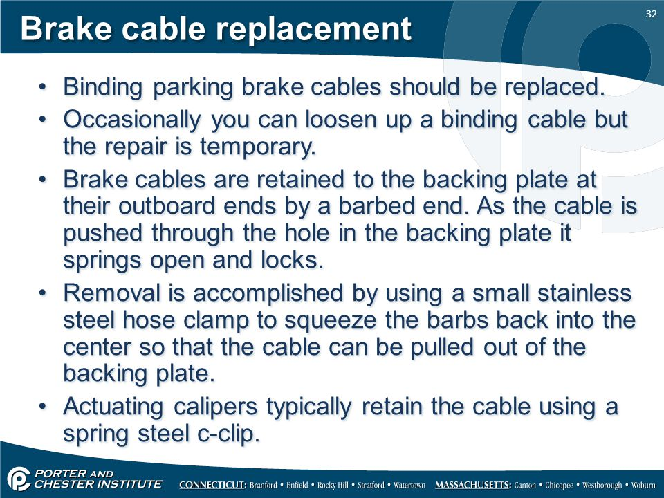 Brake cable replacement