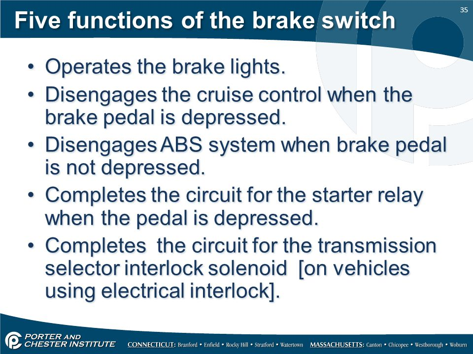 Five functions of the brake switch