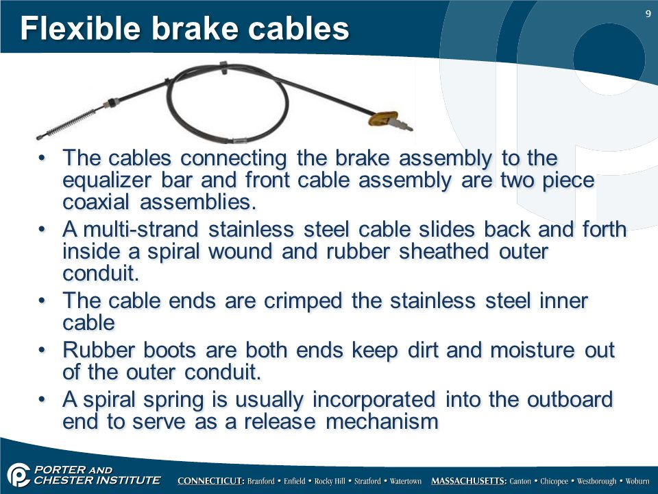 Flexible brake cables The cables connecting the brake assembly to the equalizer bar and front cable assembly are two piece coaxial assemblies.