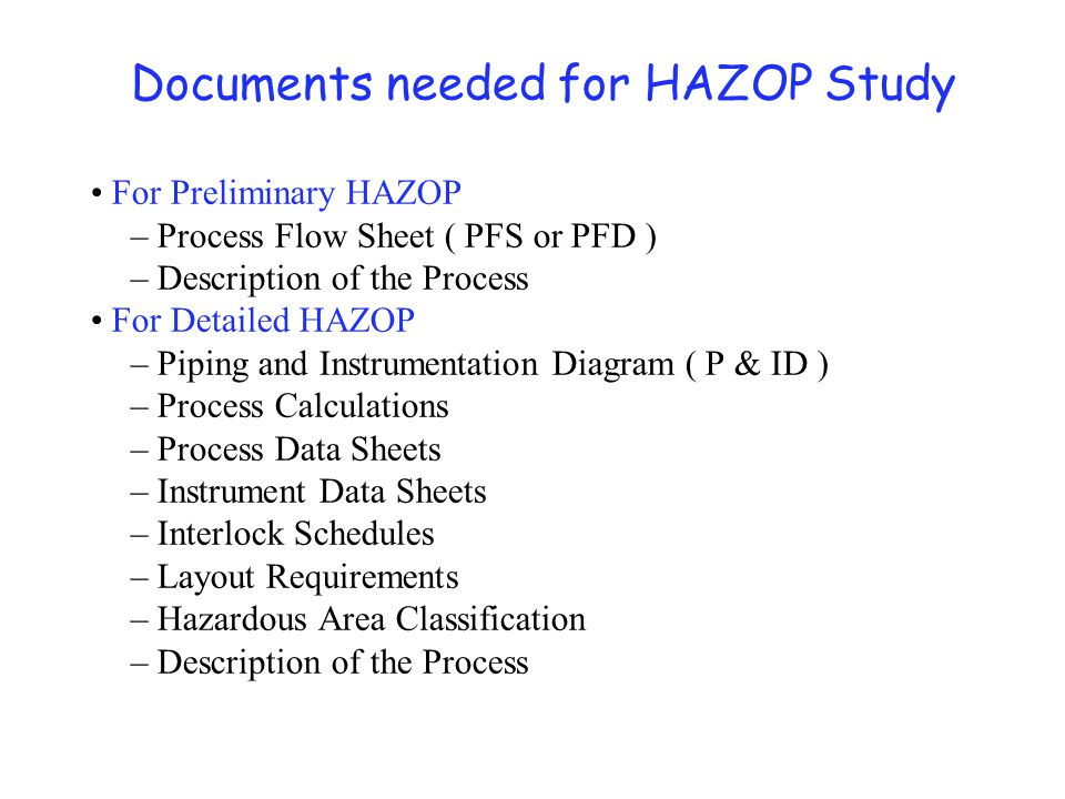 Planning for HAZOP Additional required information: