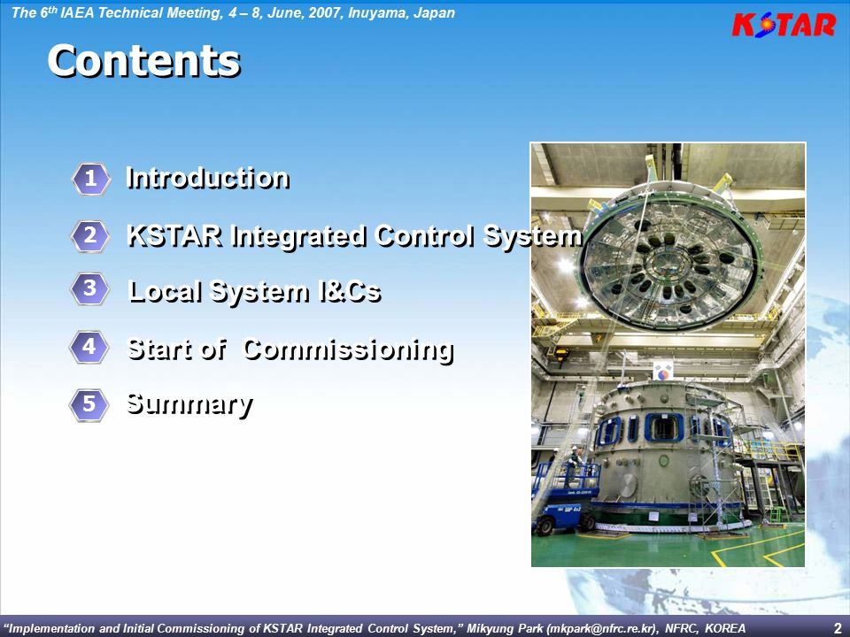 Contents Introduction KSTAR Integrated Control System