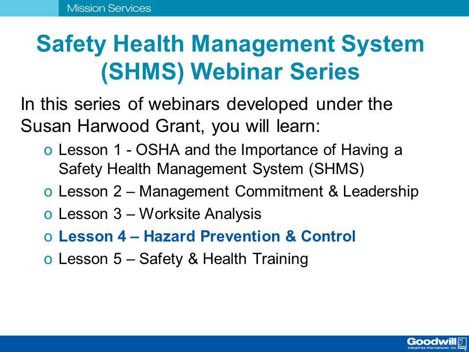 Safety Health Management System (SHMS) Webinar Series