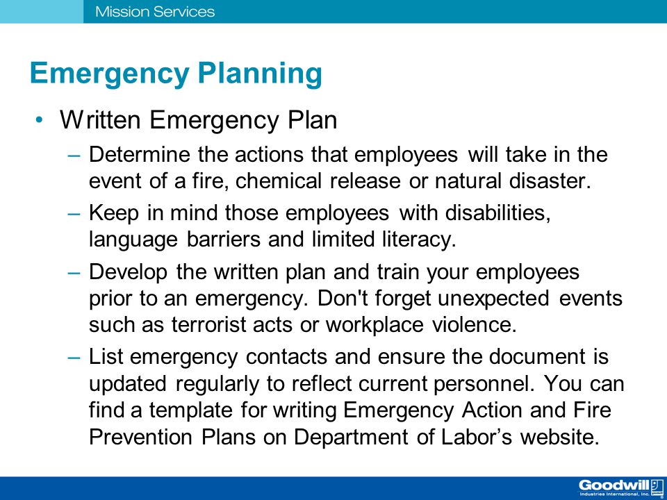 Emergency Planning Written Emergency Plan