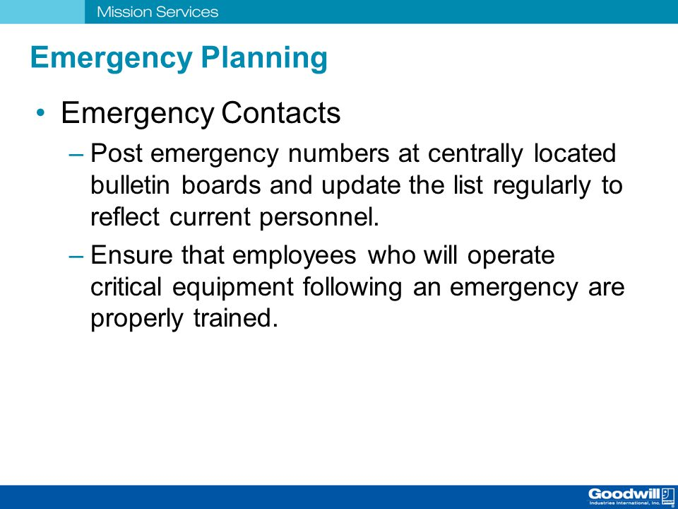 Emergency Planning Emergency Contacts