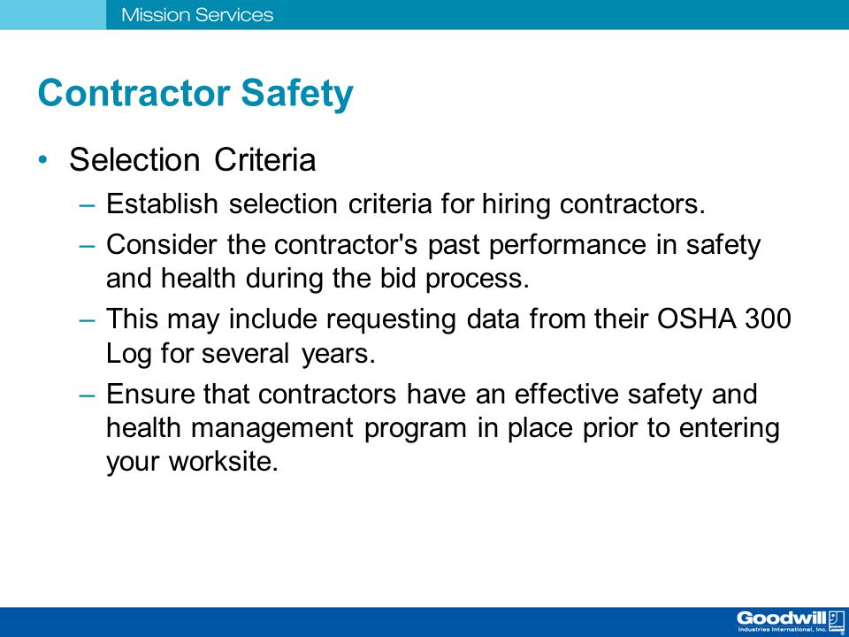 Contractor Safety Selection Criteria