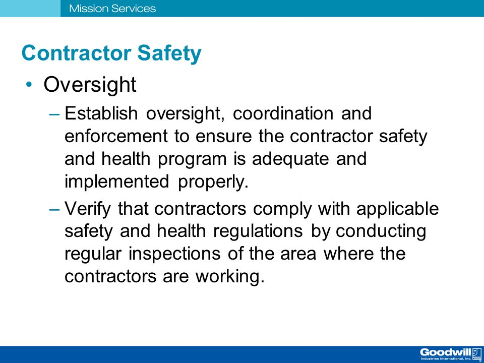 Contractor Safety Oversight