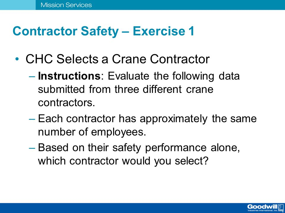 Contractor Safety – Exercise 1