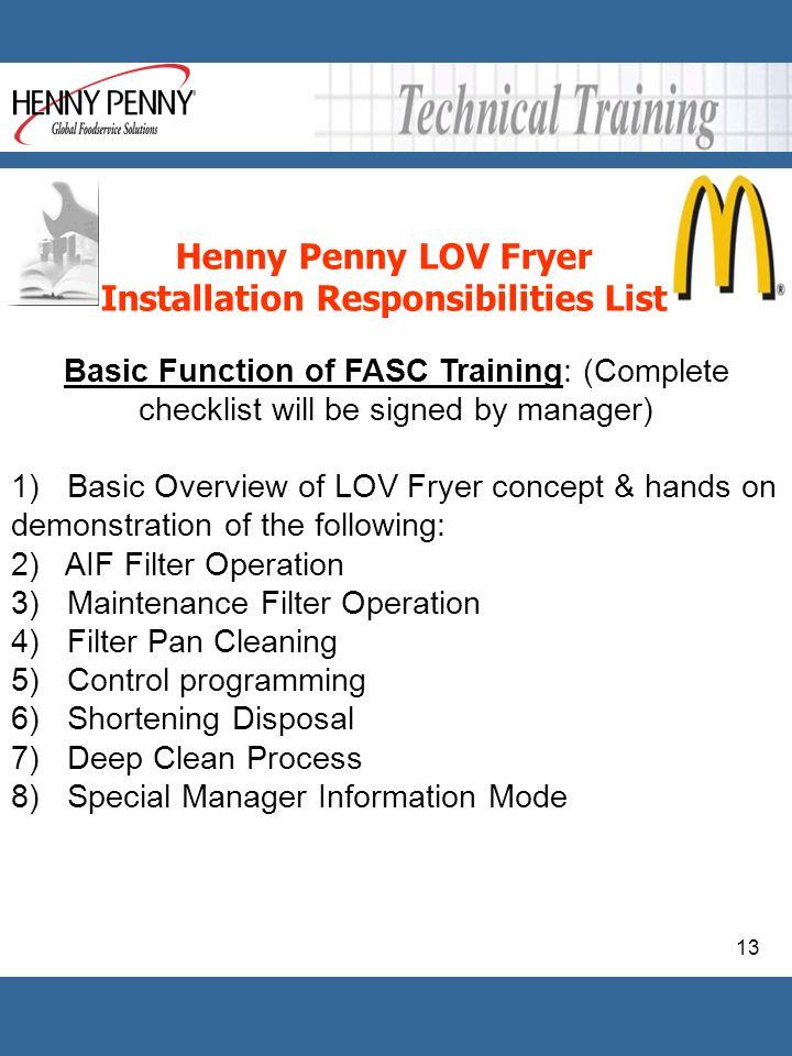 Installation Responsibilities List
