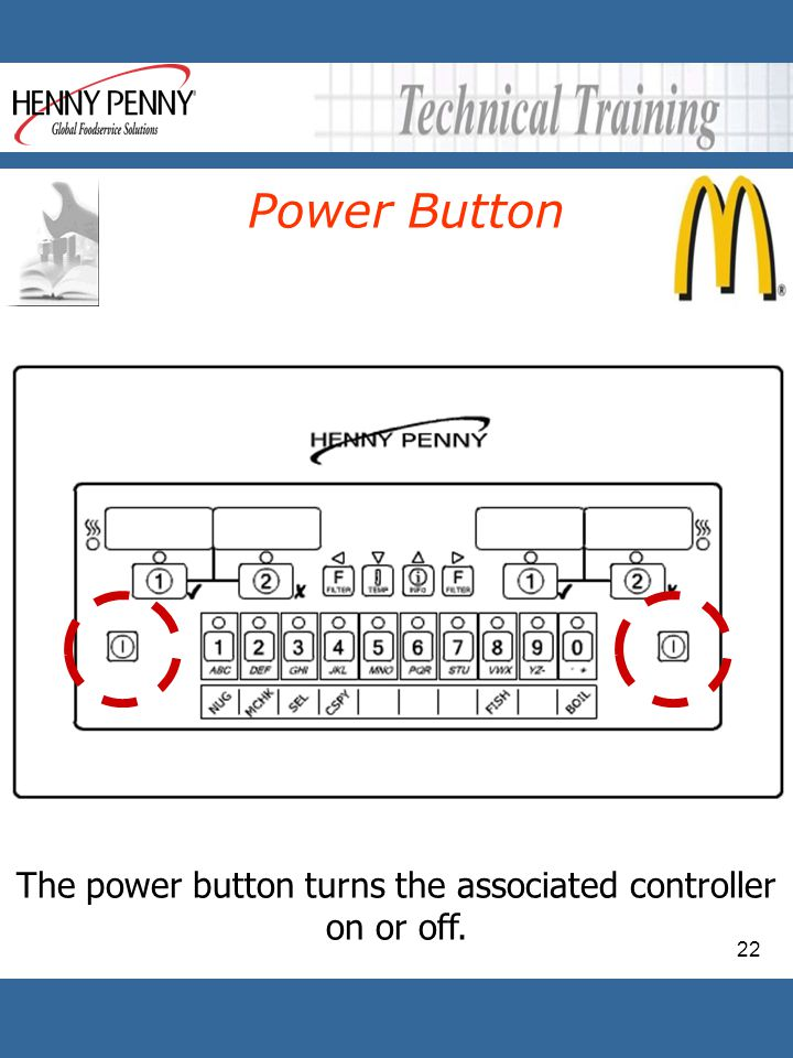 The power button turns the associated controller on or off.