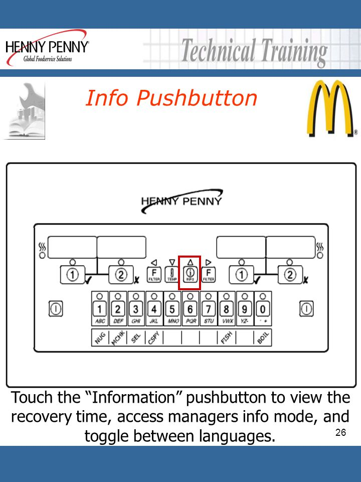 Info Pushbutton Touch the Information pushbutton to view the recovery time, access managers info mode, and toggle between languages.