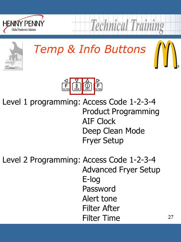 Temp & Info Buttons Level 1 programming: Access Code 1-2-3-4