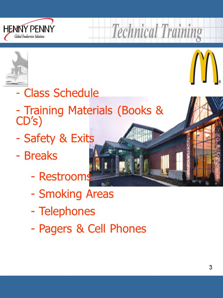 Class Schedule Training Materials (Books & CD's) Safety & Exits. Breaks. Restrooms. Smoking Areas.