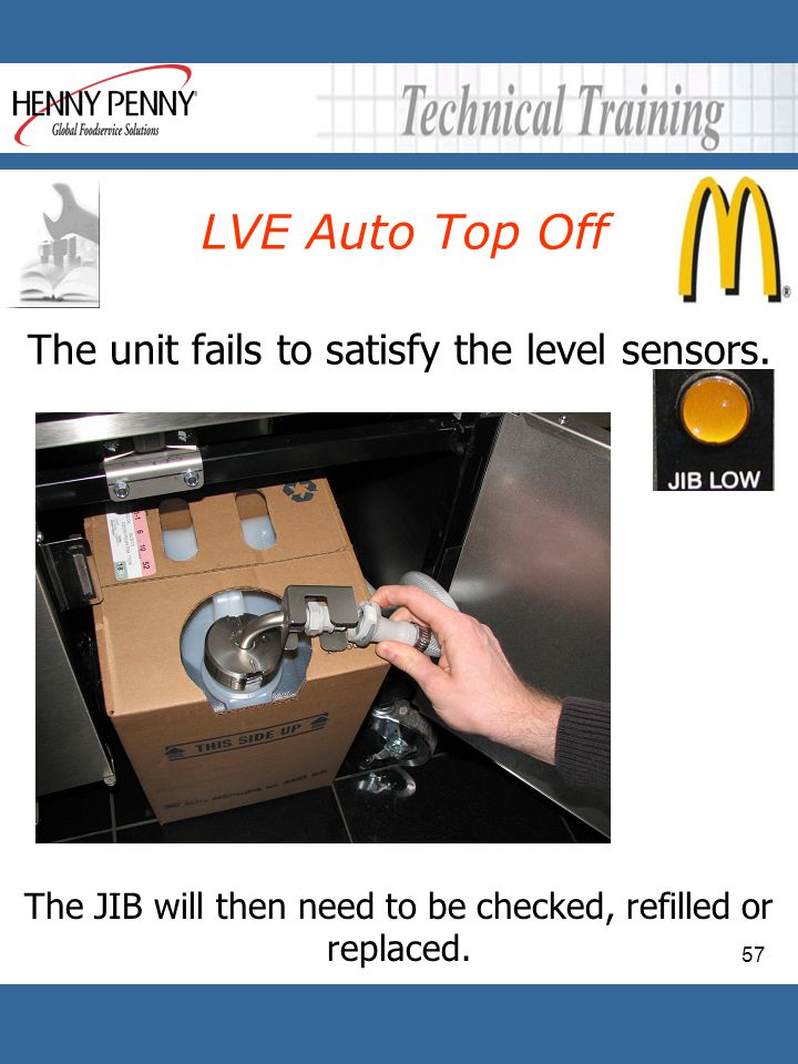 LVE Auto Top Off The unit fails to satisfy the level sensors.
