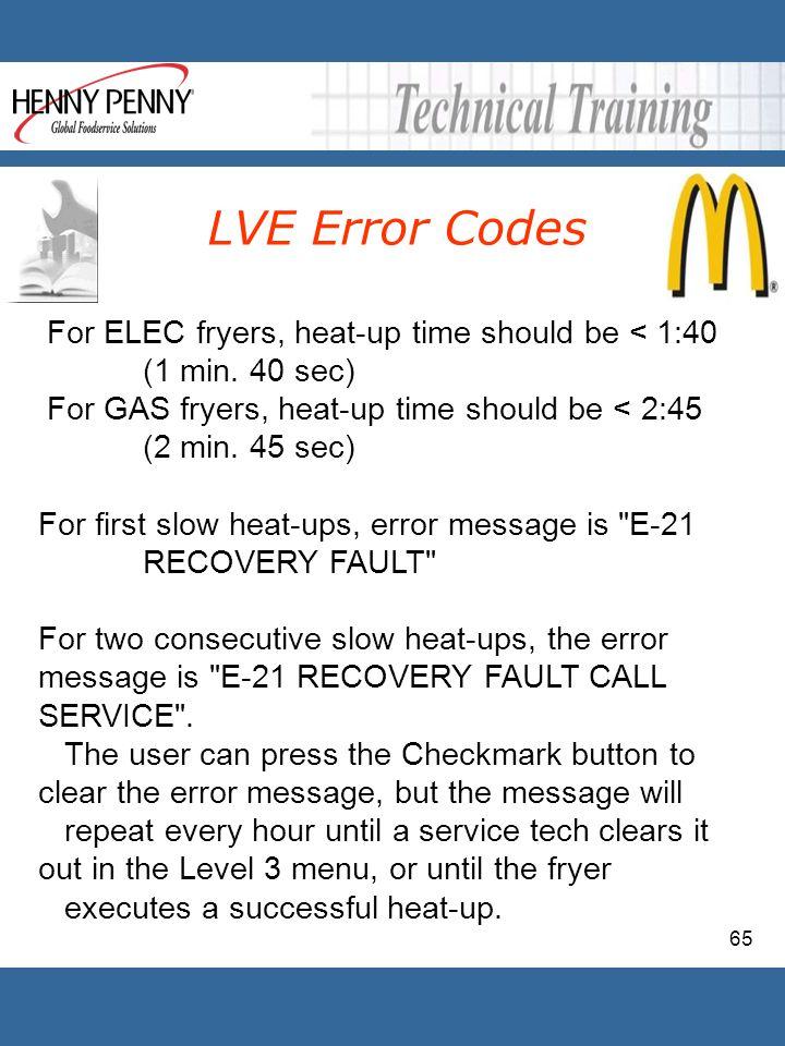 LVE Error Codes For ELEC fryers, heat-up time should be < 1:40 (1 min. 40 sec) For GAS fryers, heat-up time should be < 2:45 (2 min. 45 sec)