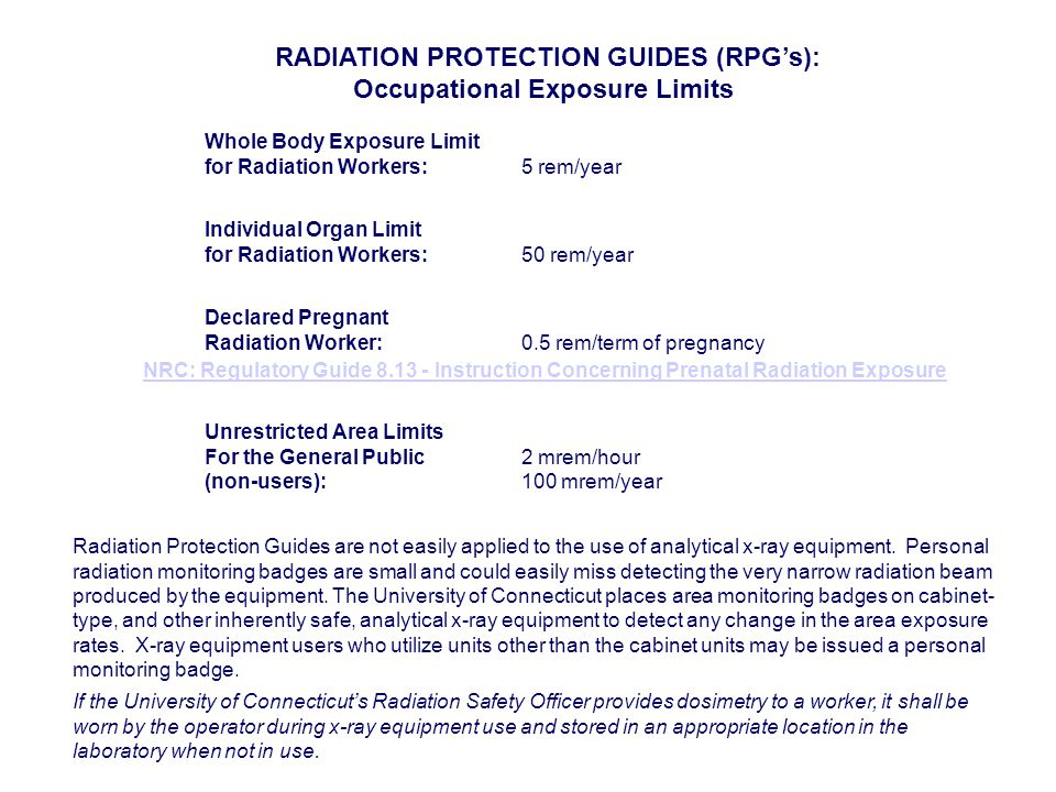 RADIATION PROTECTION GUIDES (RPG's): Occupational Exposure Limits