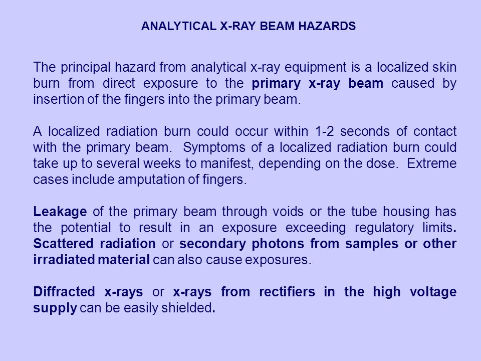 ANALYTICAL X-RAY BEAM HAZARDS