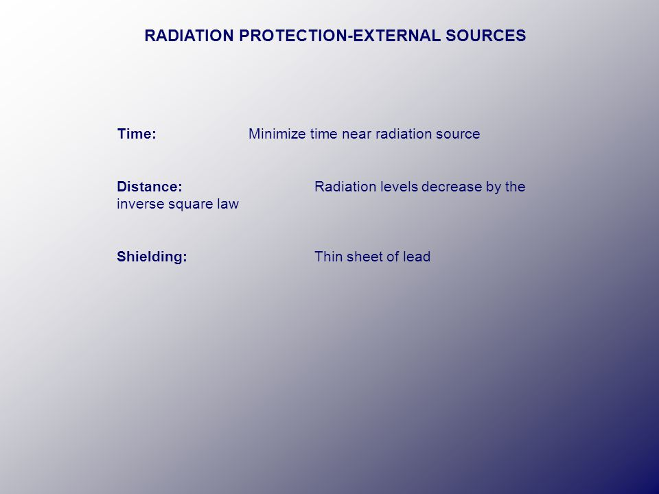 RADIATION PROTECTION-EXTERNAL SOURCES