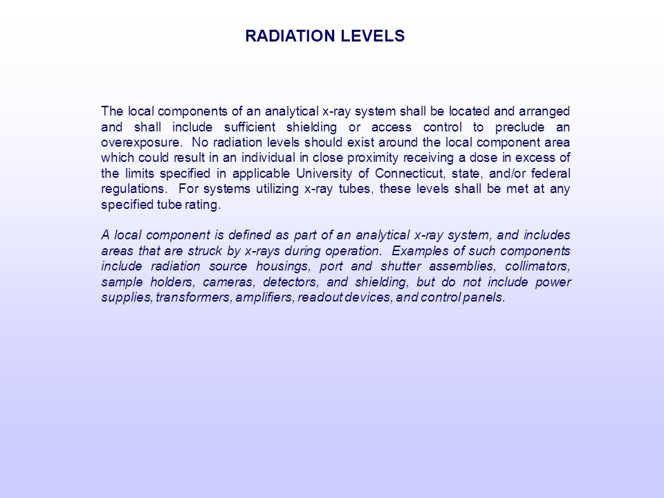 RADIATION LEVELS
