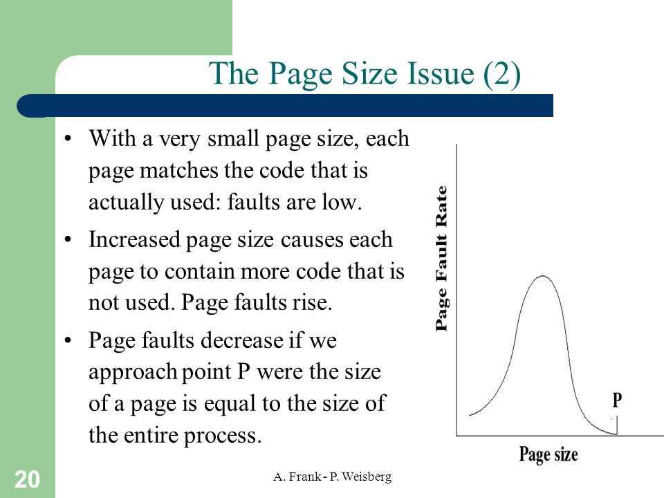 The Page Size Issue (2) With a very small page size, each page matches the code that is actually used: faults are low.