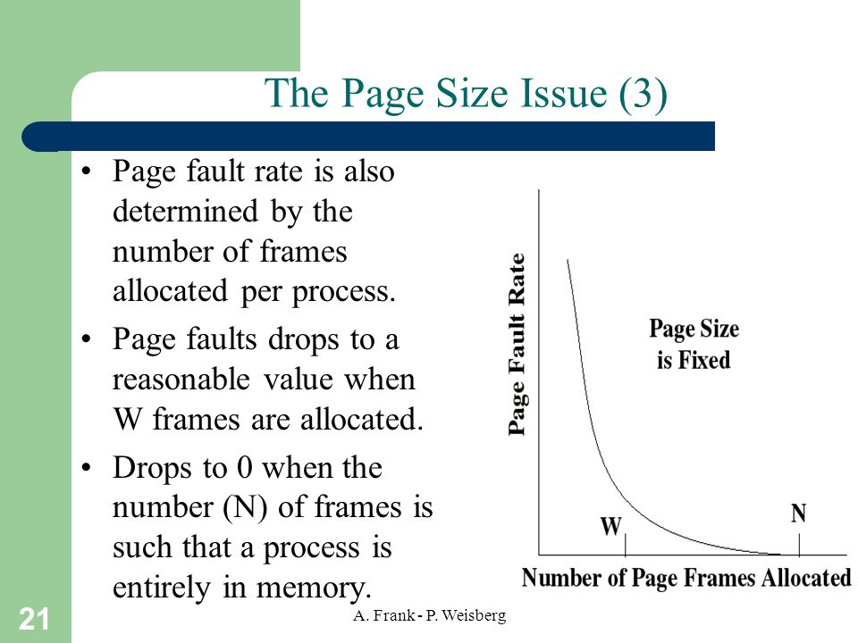 The Page Size Issue (3) Page fault rate is also determined by the number of frames allocated per process.