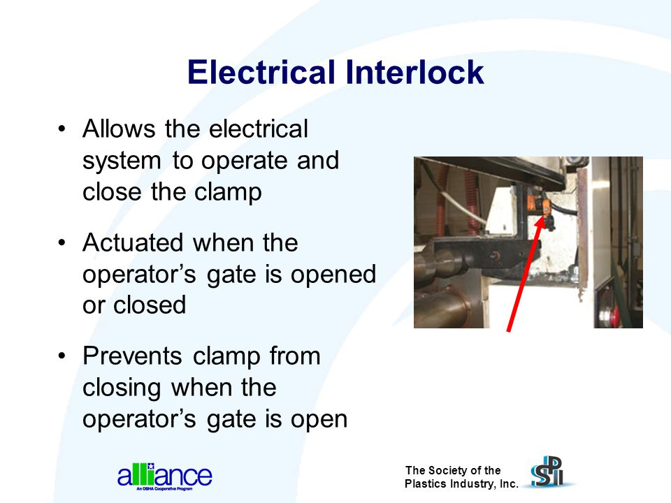 Electrical Interlock Allows the electrical system to operate and close the clamp. Actuated when the operator's gate is opened or closed.