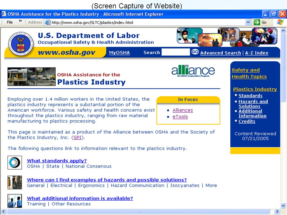 (Screen Capture of Website)