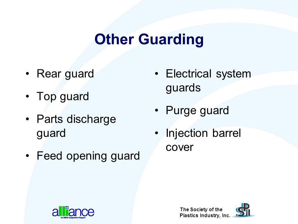 Other Guarding Rear guard Top guard Parts discharge guard